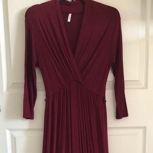 Dark Red V Neck Maternity Maxi Dress